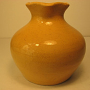 SALE North Carolina Pottery:  Auman Fluted Vase, in Yellow, 1920's