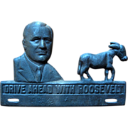 SALE 1932 FDR Cast Iron License Plate Topper