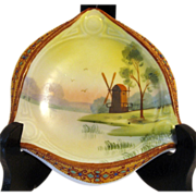 SALE Nippon 3-point Windmill Ash Tray with Raised Enamel Jeweled Rim