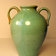 Two Handle Bybee Art Pottery Vase in Green