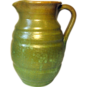 SALE North State Pottery Pitcher, in Green, 3rd stamp, late 1930's-1959