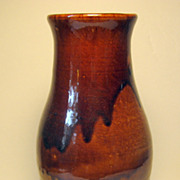 SALE Browns Pottery Vase in Brown Drip Glaze, Arden, NC
