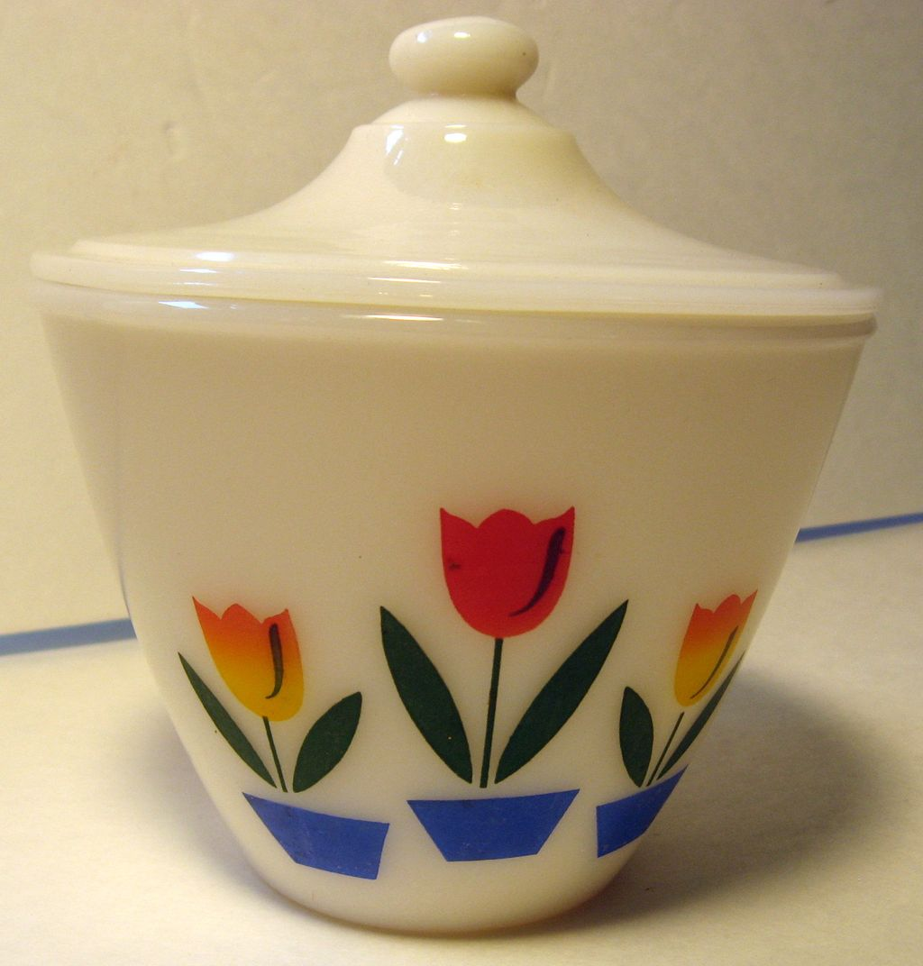 Fire King Tulip Grease Jar with Lid