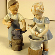 SALE Pair Blue Danube  China Figurines: Boy with Anvil & Girl Wringing Clothes