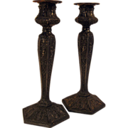 SALE Pair Rogers Silverplate Ornate Candlesticks marked 1901
