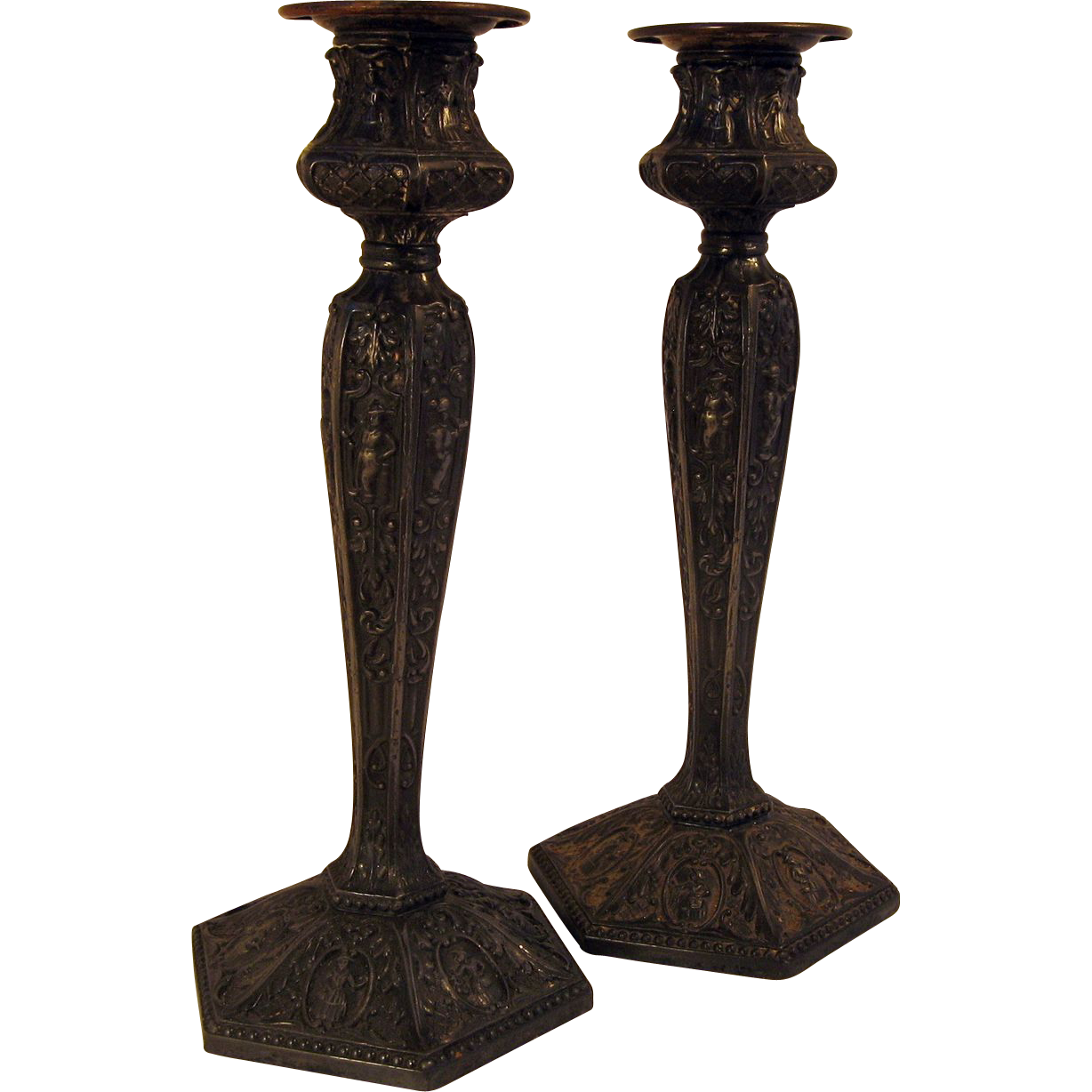 Pair Rogers Silverplate Ornate Candlesticks marked 1901