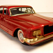 SALE Vintage Red Plymouth Valiant Tin Toy Friction Car, marked made in Japan