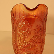 Imperial Carnival Glass Double Dutch Milk Pitcher in Marigold