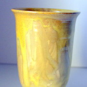 Vintage Seagrove area Pottery Vase in Yellow with Gorgeous Drips