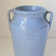 VIntage Handthrown Two Handled Blue Vase