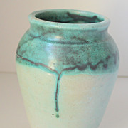 North State Pottery Gorgeous Aqua Vase Double Glaze with Runs