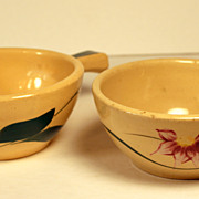 Pair Watt Pottery Individual Casseroles in Starfire and Pattern, no Lid
