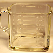 Vintage Square Clear Glass One Cup Measure