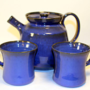 Fabulous JB Cole Cobalt Blue Teapot and 2 Mugs Signed VirginiaShelton
