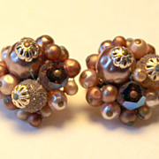 Beautiful Champagne Colored Beaded Clip On Earrings