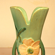 Signed Weller Vase, 8 1/2&quot; in Wild Rose