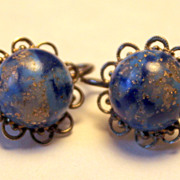 Beautiful Variegated Blue Stone Clip On Earring in Filigree Setting