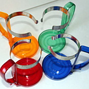 Vintage Retro Beverage Glass Holders in Primary Colors, Set of 4