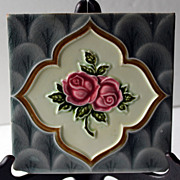 ORIGINAL ca 1900 Art Nouveau Tile in Rose Pattern
