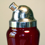 Ruby Red Glass Cocktail Shaker with Chrome Top