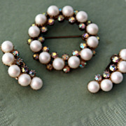Vintage Jewelry Simulated Pearl and Rhinestone Brooch and Clip On Earrings