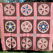 Early Hand Stitched Quilt, Nine Patch Star, North Carolina