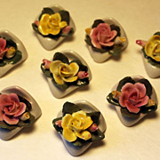 Vintage Porcelain Capodimonte Rose Place Card Holders, Set of 8