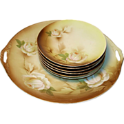 Beautiful RS Prussia 7 piece Hand Painted Cake Set