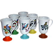 Beautiful Set of 6 Coffee Mugs, with Birds