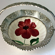 Vintage Hand Painted Bowl with Rose Stamped Aluminum Rim and Handle