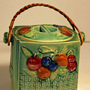 Vintage Biscuit Jar with Embossed Fruit and Rattan Handle, Made in Japan