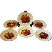 Beautiful Handpainted Fruit Designed Desert Plates (6), Marked Germany AMZO