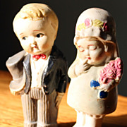Bisque Bride and Groom Figurines, Made in Japan