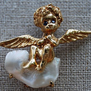 SALE Gold Angel on a Pearl Cloud Pin