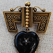 SALE Victorian Etruscan Revival Enamelled Heart Pin