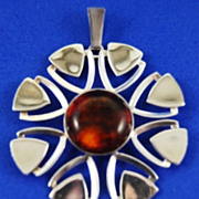 SALE Amber and Sterling Pendant by  H. Ellegaard Frederiksen