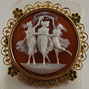 SALE Round Shell Cameo, The Three Graces
