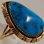 SALE Fritson Toledo 14k and Turquoise Ring