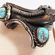 SALE Sterling Turquoise and Bear Claw Bracelet