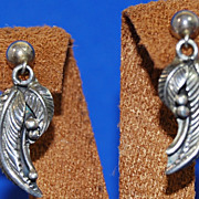 SALE Les Baker Sterling Feather Earrings