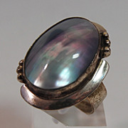 SALE Joe Corbett Mother of Pearl Ring in Sterling
