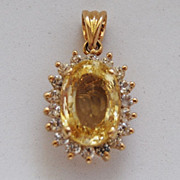 SALE Yellow Sapphire and Diamond Pendant in 18K Yellow Gold