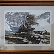 Four Whaling Etchings by Jack Coughlin