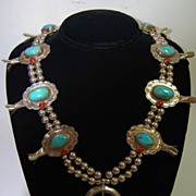 Squash Blossom Necklace w/ Natural Sleeping Beauty Turquoise