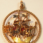 SALE .800 Yellow Gold 15th Century Sailing Vessel w/ Enamel