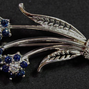 14K White Gold Sapphire and Diamond Floral Spray Pin