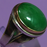 SALE Jade, 14K and Sterling Ring