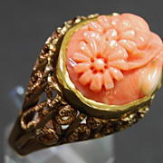 SALE Carved Coral and Yellow Gold Ring, circa 1965