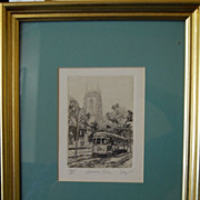 "Phillip Sage New Orleans Etching ""Avenue Line"""