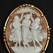 14K Cameo of the Three Graces